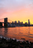 New York Brooklyn Bridge and Skyline at Sunset Stock Images