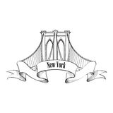 New York Brooklyn Bridge Symbol. Label Design Stock Photography