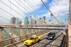 New York, Brooklyn Bridge and taxi cab Royalty Free Stock Photos