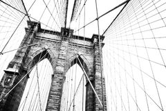 New York, the Brooklyn Bridge. New York, view of the Brooklyn Bridge royalty free stock photos