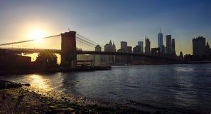 New York Brooklyn bro och i stadens centrum Royaltyfri Foto