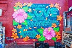New York: Brooklyn byggnad och väggmålningar på September 16, 2014 Royaltyfria Foton