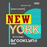 New york/Brooklyn city/nyc Typography Design for t-shirt. Typography for t-shirt,vector illustration art,new design Royalty Free Stock Image