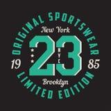 New York Brooklyn - grafisk design för t-skjortan, sportdräkt Typografi för kläder Original- sportswear, inskränkt upplagatryck stock illustrationer