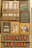 New York and Brooklyn posters and postcards in Chelsea Market on September 16, 2014 Royalty Free Stock Photos