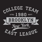 New York, Brooklyn - print logo. Graphic design for t-shirt, sport apparel. Typography for clothes. College team, east league. Vector illustration Royalty Free Stock Photos
