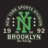 New York, Brooklyn - print logo. Graphic design for t-shirt, sport apparel. Typography for clothes. Sports division. Vector. New York, Brooklyn - print logo stock illustration