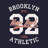 New York Brooklyn sports apparel. Typography emblem for t-shirt. Vintage clothes print, athletic number design. Vector. New York Brooklyn sports apparel Stock Photography
