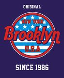 New york brooklyn, Vector image. New york brooklyn t shirt graphic, Vector image royalty free illustration