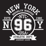 New York Brooklyn typografi för t-skjorta tryck Sportar idrotts- t-skjorta diagram vektor illustrationer