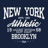 New York, Brooklyn typography, badge for t-shirt print. Varsity style t-shirt graphics royalty free illustration