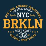 New York, Brooklyn - typography for design clothes, athletic t-shirt. Graphics for print product, apparel. Vector. New York, Brooklyn - typography for design Vector Illustration