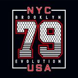 New york brooklyn typography design tee stock image