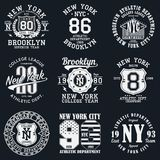 New York, Brooklyn typography. Set of athletic print for t-shirt design. Graphics for sport apparel. Collection of tee shirt badge. Vector illustration Royalty Free Stock Images