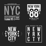 New York, Brooklyn typography for t-shirt print. Athletic patches collection for tee graphic. T-shirt design. Vector Stock Photography