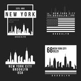New York, Brooklyn typography for t-shirt print. New York City skyline for tee graphic. T-shirt design collection. Vector Royalty Free Stock Photos