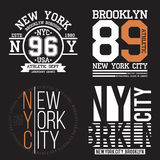 New York, Brooklyn typography for t-shirt print. Sports, athletic t-shirt graphics set. Badge collection Royalty Free Stock Photo