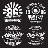 New York, Brooklyn typography for t-shirt print. Sports, athletic t-shirt graphics set. Badge collection. Vector Royalty Free Stock Photo