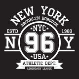 New York, Brooklyn typography for t-shirt print. Sports, athletic t-shirt graphics vector illustration