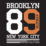 New York, Brooklyn typography for t-shirt print. Sports, athletic t-shirt graphics. Vector Royalty Free Stock Photography