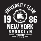 New York, Brooklyn typography for t-shirt print. Sports, athletic t-shirt graphics. Vector Stock Photos
