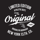 New York, Brooklyn typography for t-shirt print. Sports, athletic t-shirt graphics. Vector Royalty Free Stock Photos