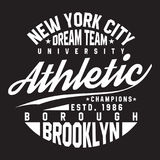 New York, Brooklyn typography for t-shirt print. Sports, athletic t-shirt graphics. Vector Stock Illustration