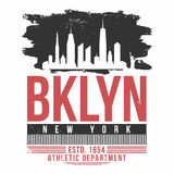 New York, Brooklyn typography for t shirt print. T shirt graphics with city skyline silhouette. Vintage tee print. Vector Royalty Free Stock Photo