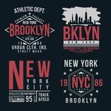 New York, Brooklyn typography for t-shirt print. Vintage badge set for t shirt print Royalty Free Stock Photography
