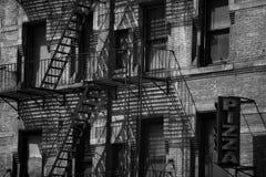 New York building fire escape Stock Photos