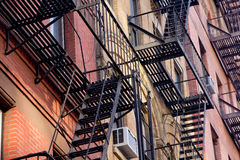 New York building fire escape. Typical New Yorker building facade with its fire escape Stock Images