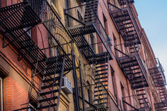 New York building fire escape. Typical New Yorker building facade with its fire escape Royalty Free Stock Images