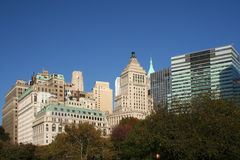 New York Buildings. Different buildings against blue sky line in New York city Royalty Free Stock Images