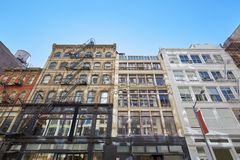 New York buildings facades with fire escape stairs and cistern Stock Photography