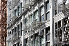 New York buildings with fire escape stairs, sunny day Stock Photography