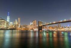 New York Buildings at night, Manhattan skyline Stock Images