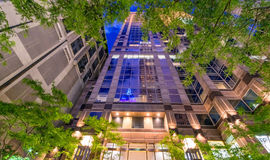 New York buildings at night with vegetation Stock Image
