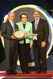 New York Burgemeester Michael Bloomberg, Billie Jean King en USTA-Voorzitter, CEO en President die Dave Haggerty tijdens US Open  Royalty-vrije Stock Foto