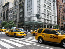 New York cabs. Group of yellow cabs in New York city Royalty Free Stock Photos