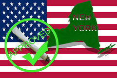New York on cannabis background. Drug policy. Legalization of marijuana on USA flag, Stock Images