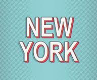 New York Carte de voyage de l'Amérique Carte de voeux de lettrage Bruit moderne Art Typography Effets grunges de points Orange à  illustration stock