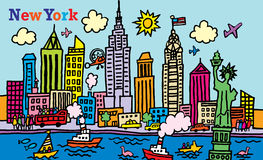 New York. A cartoon style,  illustration of New York, City Royalty Free Stock Photo