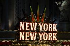 New York Casino, Las Vegas. Las Vegas nightlife with neon lights Stock Photos