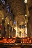 New York cathedral with candles Stock Photos