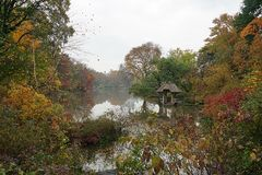 New York Central Park Lake Autumn with Skyline.  Royalty Free Stock Image