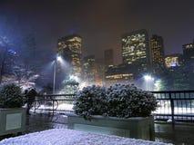 New York - Central Park-Rochen-Eisbahn im Weihnachtsschnee Lizenzfreies Stockfoto