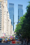 New York, Central Park: skyline with Time Warner Center on September 14, 2014 Royalty Free Stock Photography