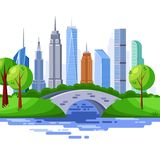 New York central park and urban skyscraper buildings. Vector cityscape illustration royalty free illustration