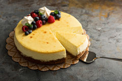 New York cheesecake on a cake stand Royalty Free Stock Image