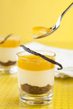 New York Cheesecake with Mango topping dessert Royalty Free Stock Photography